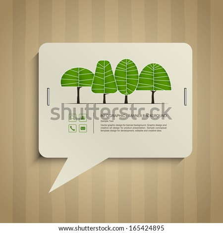 Abstract speech bubbles of paper banner and abstract trees symbol stick on cardboard paper texture background, Natural banner idea concept - Vector illustration - stock vector