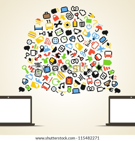 Abstract speech cloud and two connected computers - stock vector