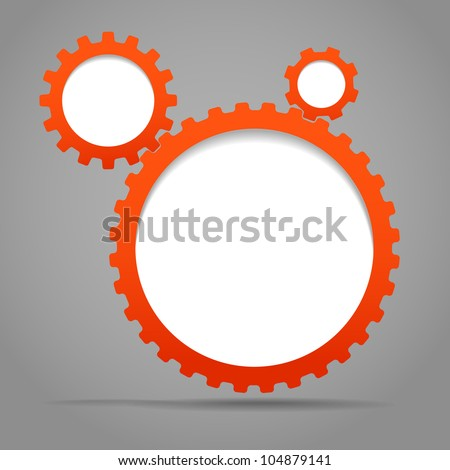 Abstract speech clouds of gear wheels. Template for a text - stock vector