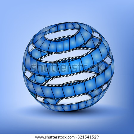 Abstract Sphere From Blank Film Strip isolated on blue background - stock vector