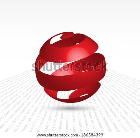 abstract sphere on a digital background - stock vector
