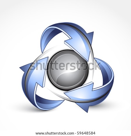 Abstract sphere with arrows. Business logo - stock vector