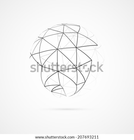 Abstract sphere with lines on white background. Vector illustration - stock vector