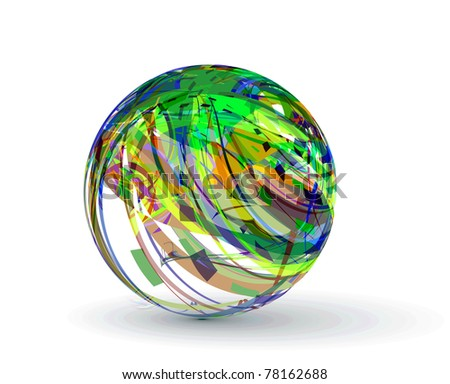 abstract spheres made from colorful stripes - stock vector