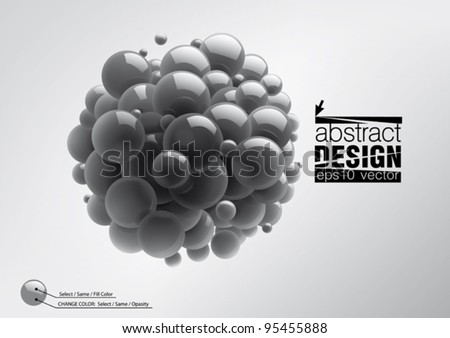 Abstract spheres with reflective surface - stock vector