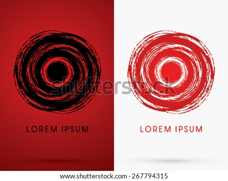 Abstract spin cycle designed using red and black grunge  brush,sign ,logo, symbol, icon, graphic, vector. - stock vector