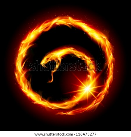 Abstract spiral snake. Illustration on black background