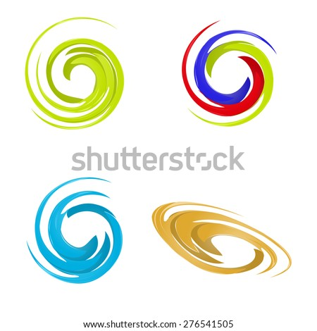 Abstract spiral wind vector logo - stock vector