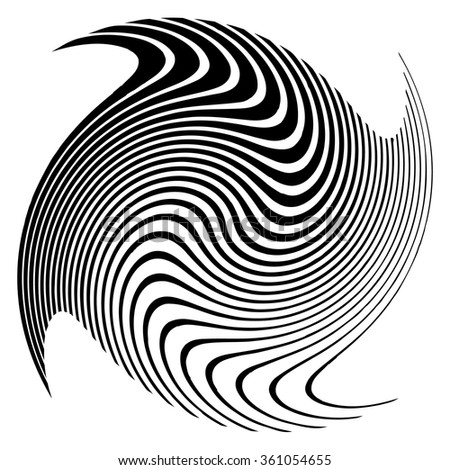 Abstract spirally element. Twirl, swirl, vortex shape. Monochrome vector .  - stock vector