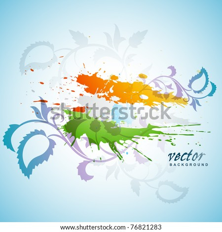 abstract splash indian flag floral background - stock vector