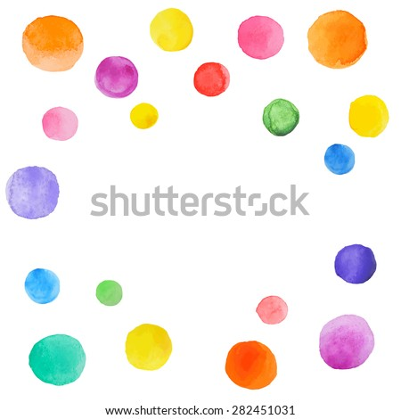 Abstract splash of watercolor blobs. Colorful abstract vector ink paint spots. - stock vector
