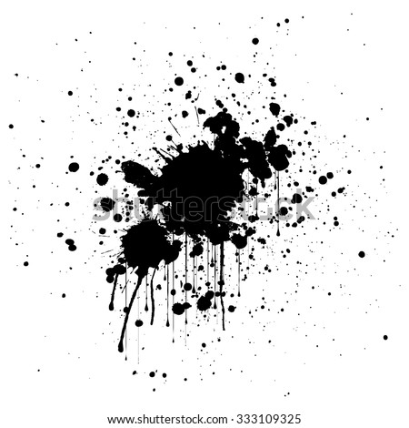 abstract splatter black color background. illustration design. - stock vector