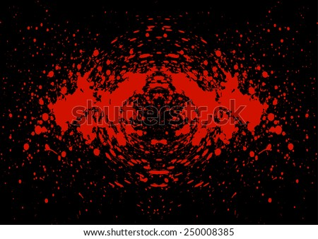Abstract splatter blood on black color background - stock vector