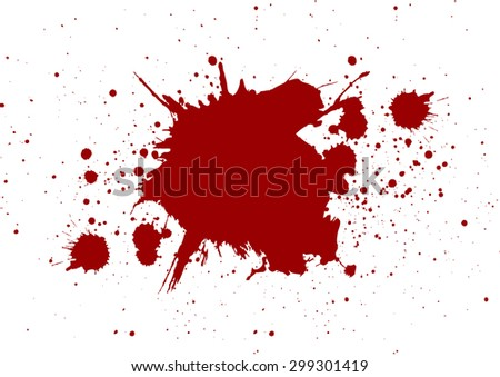 abstract splatter red color on white color background,isolate - stock vector