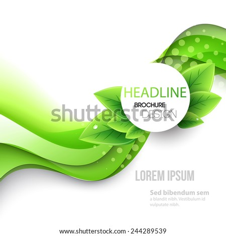 Abstract spring background. Template brochure design with green line and leaves. Think green - stock vector
