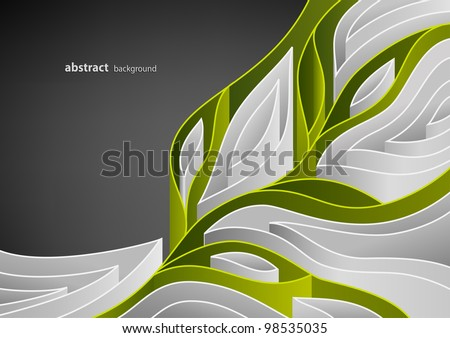 Abstract spring background with green branch of tree - stock vector