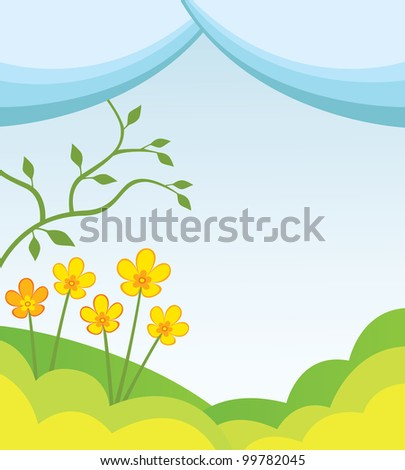 Abstract spring background with hills flowers and a tree