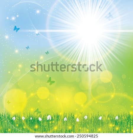 Abstract spring floral bright sunny background  - stock vector