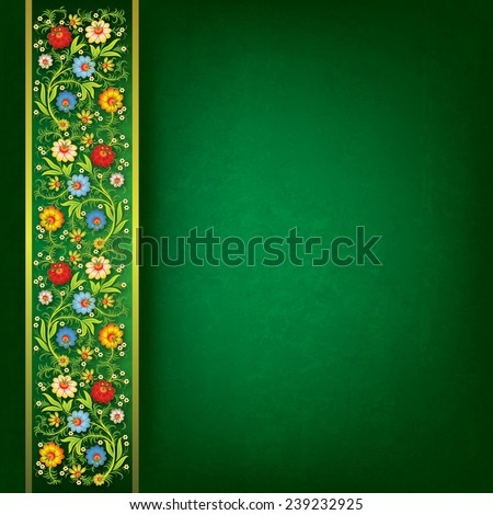 abstract spring floral ornament on grunge green background - stock vector