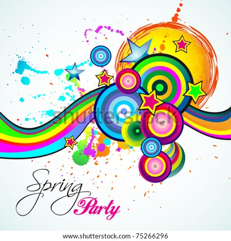 Abstract Spring Party Flyer for Childs Birthday! - stock vector