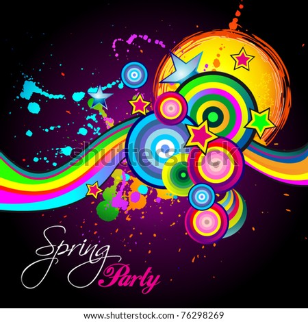 Abstract Spring Party Flyer Childs Birthday Stock Vector 76298269