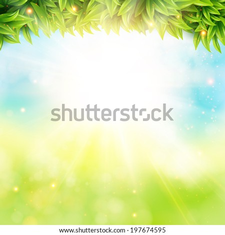 Abstract spring poster with shining sun and blurred background. Vector illustration.  - stock vector