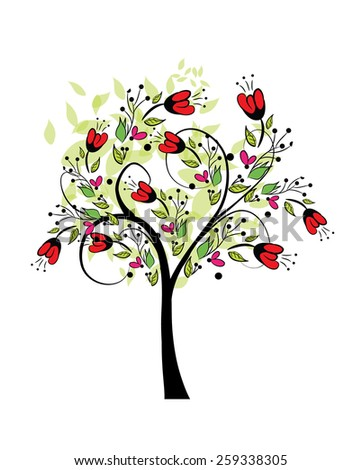 abstract spring tree vector - stock vector