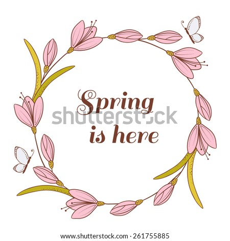 Abstract spring vector background with flowers and butterflies. Vector illustration of hand drawn floral element for design - stock vector