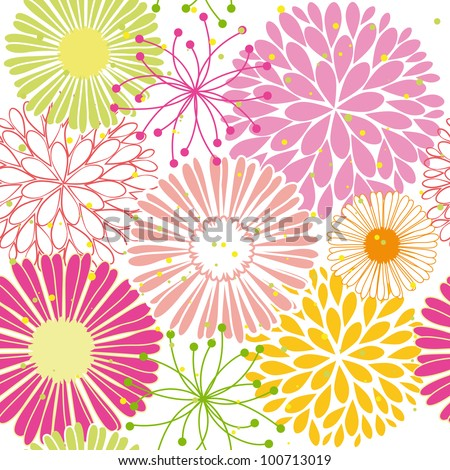 Abstract springtime colorful flower seamless pattern background - stock vector