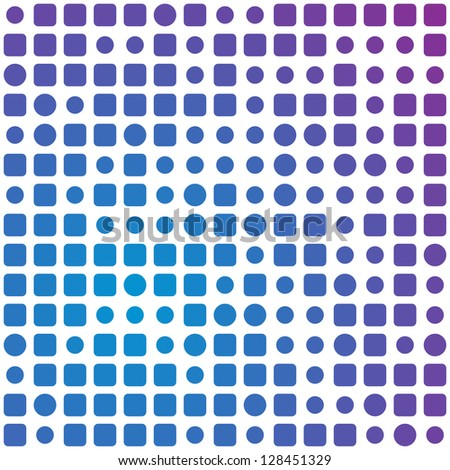 Abstract square and circles blue to violet background. - stock vector
