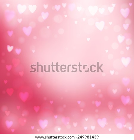 Abstract square blur pink background with small heart-shaped lights over it. - stock vector