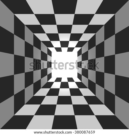 Abstract square checkered tunnel vector background. - stock vector