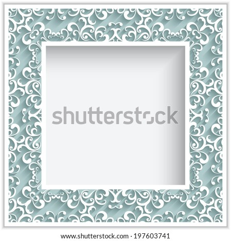 Abstract square frame with paper swirls, vector ornamental lace background, eps10 - stock vector