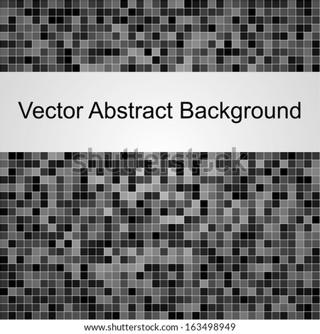 Abstract square grey vector pixel mosaic background - stock vector