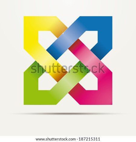Abstract square knotted ribbons vector logo design element. Multicolored Intertwined hexagon shapes. - stock vector