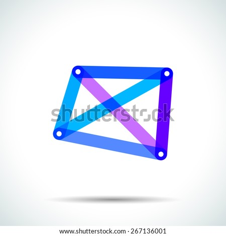 Abstract square logo with intersecting transparent lines and dots - stock vector