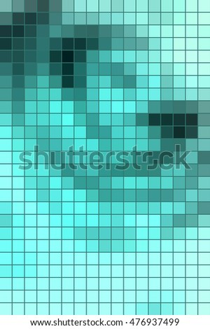 Abstract square mosaic tile blue background for any design, vertical format.