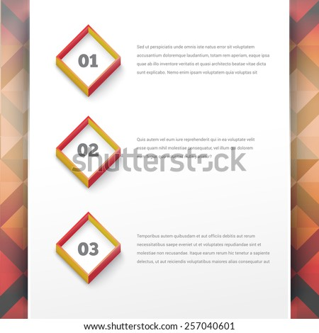 Abstract Square Options Menu Vector Design with Abstract Retro Background - stock vector