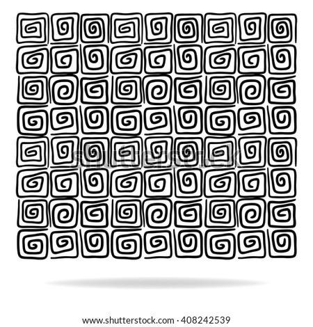 abstract square pattern design vector with hand drawn curls or swirls in rows to form black texture design, vector can be placed on any color - stock vector