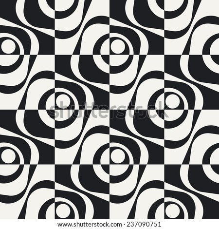 Abstract Square Pattern. Vector Seamless Monochrome Background. Regular Checkered Texture - stock vector
