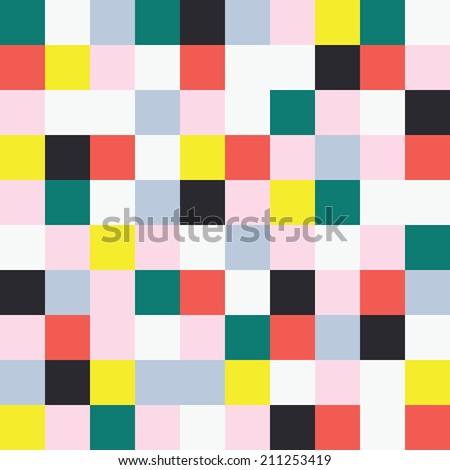 Abstract square pixel background . Pixel art. Colorful vector pattern. - stock vector