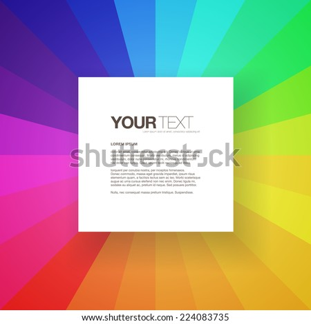 Abstract square text box design with colorful rainbow background  Eps 10 stock vector illustration  - stock vector