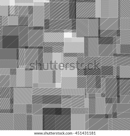 Abstract squared background from striped shapes - stock vector