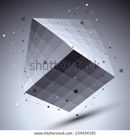 Abstract squared vector monochrome object with lines mesh over dark background, creative technology cube with grid imposed. - stock vector