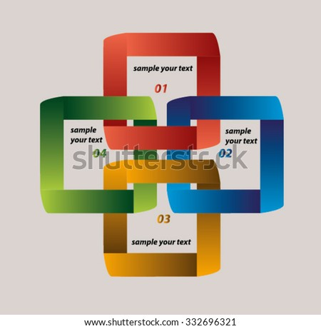 abstract squares business presentation template with numbers. Vector illustration. - stock vector