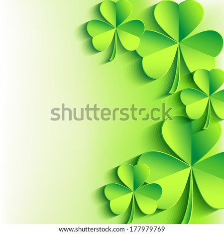 Abstract St. Patrick's day card with 3d leaf clover. Stylish Patricks day background with green clover leaves. Trendy bright floral background. Vector illustration  - stock vector
