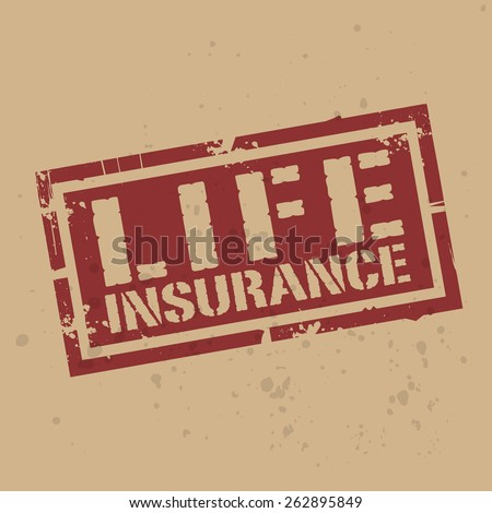 Abstract stamp or label with text Life Insurance, vector illustration - stock vector
