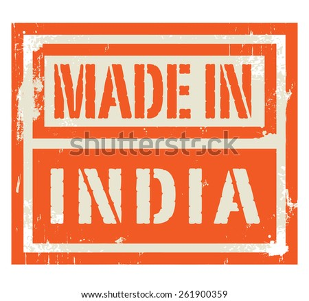 Abstract stamp or label with text Made in India, vector illustration - stock vector