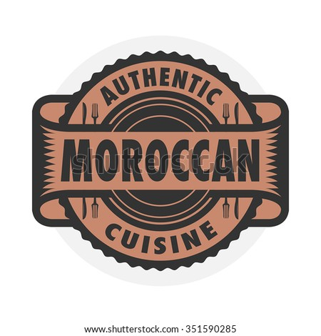 Abstract stamp emblem text authentic macedonian stock for Authentic moroccan cuisine