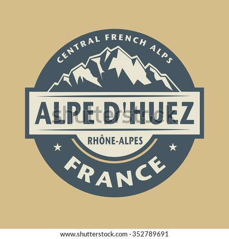 Abstract stamp with the name of town Alpe Dhuez in France, vector illustration - stock vector